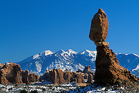 Balanced Rock and La Sal Mountains, Arches National Park, Utah.