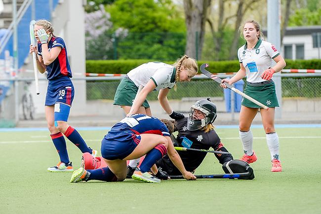 Mannheim, Germany, May 01: During the 1. Bundesliga women fieldhockey match between Mannheimer HC (blue) and Uhlenhorst Muelheim (white) on May 1, 2021 at Am Neckarkanal in Mannheim, Germany. Final score 2-2 (HT 1-0). Uhlenhorst Muelheim wins after shoot-out 3-4. (Copyright Dirk Markgraf / www.265-images.com) ***