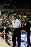 BERKELEY, CA - MARCH 30: Head coach Tara Vanderveer and associate head coach Amy Tucker directing traffic during Stanford's 84-66 win against the Ohio State Buckeyes on March 28, 2009 at Haas Pavilion in Berkeley, California.