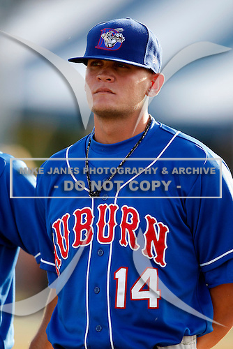 June 19, 2009:  Austin Armstrong of the Auburn Doubledays during a game at Dwyer Stadium in Batavia, NY.  The Doubledays are the NY-Penn League Short-Season A affiliate of the Toronto Blue Jays.  Photo by:  Mike Janes/Four Seam Images