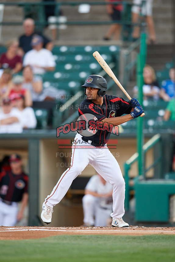 Rochester Red Wings left fielder LaMonte Wade (11) at bat during a game against the Lehigh Valley IronPigs on September 1, 2018 at Frontier Field in Rochester, New York.  Lehigh Valley defeated Rochester 2-1.  (Mike Janes/Four Seam Images)