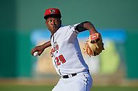 Lansing Lugnuts starting pitcher Juan De Paula (29) during a Midwest League game against the Burlington Bees on July 18, 2019 at Cooley Law School Stadium in Lansing, Michigan.  Lansing defeated Burlington 5-4.  (Mike Janes/Four Seam Images)