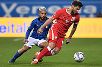 Lorenzo Insigne of Italy and Bartosz Bereszynski of Poland in action during the Uefa Nation League Group Stage A1 football match between Italy and Poland at Citta del Tricolore Stadium in Reggio Emilia (Italy), November, 15, 2020. Photo Andrea Staccioli / Insidefoto