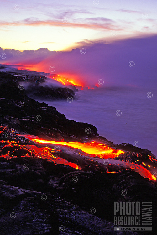 Dramatic shot of the coastline showing lava fields disappearing into the ocean.