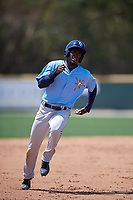 Tampa Bay Rays Lucius Fox (6) during a minor league Spring Training game against the Baltimore Orioles on March 29, 2017 at the Buck O'Neil Baseball Complex in Sarasota, Florida.  (Mike Janes/Four Seam Images)
