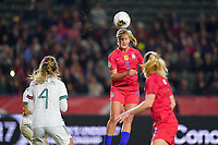 CARSON, CA - FEBRUARY 7: Lindsey Horan #9 of the United States heads the ball during a game between Mexico and USWNT at Dignity Health Sports Park on February 7, 2020 in Carson, California.