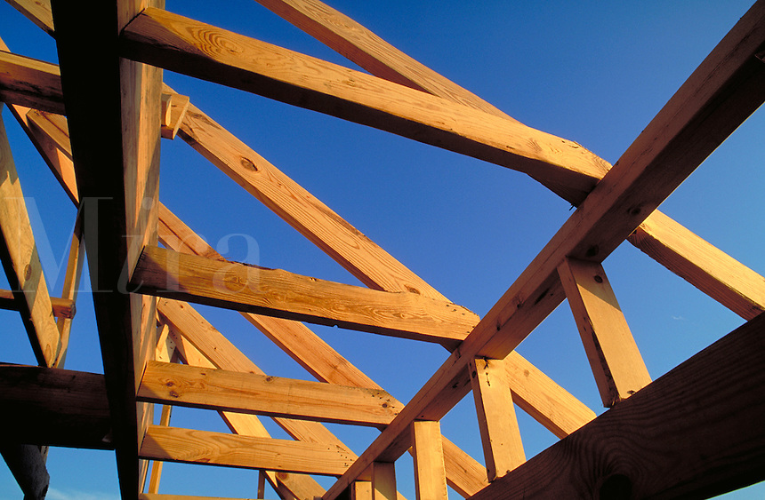 Wood framing, rafters and sky. Houston Texas.