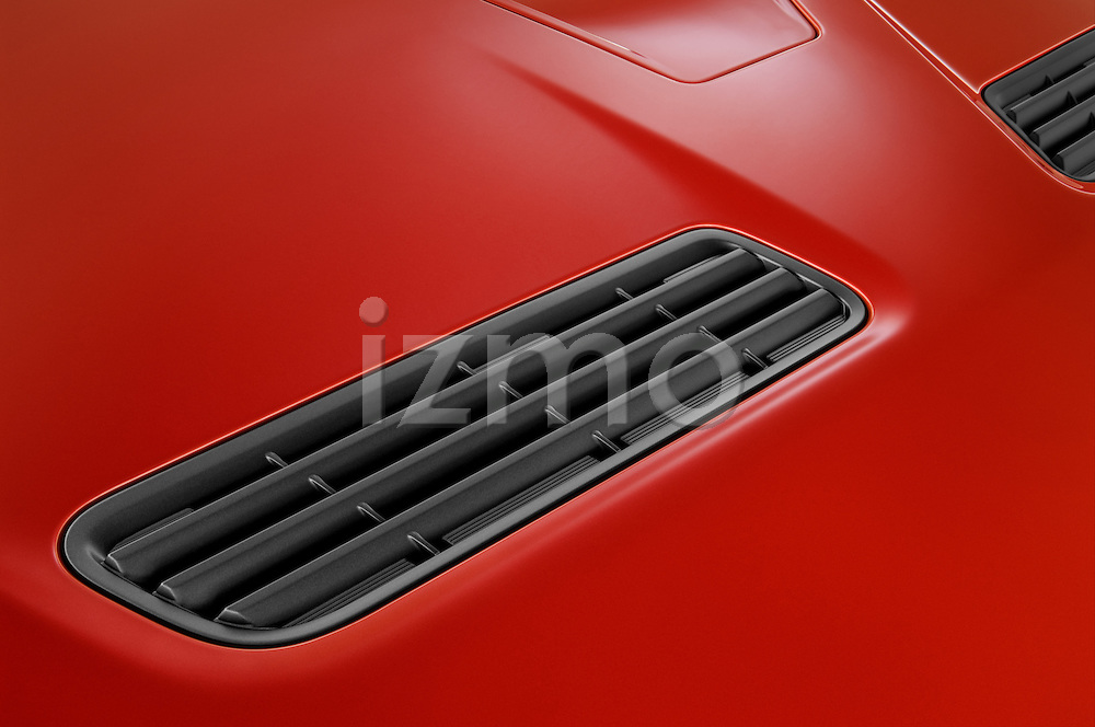 High angle detail view of hood air vents on a 2008 Mitsubishi Lancer Evolution