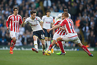 09.11.2014.  London, England. Premier League. Tottenham versus Stoke. Tottenham Hotspur's Ryan Mason tries with the pass. ; Mason was made interim team manager for 2021 season after Spurs sacked Jose Mourinho. Mason retired from playing for Tottenham after suffering a fractured skull in a game in early 2017 at Hull.