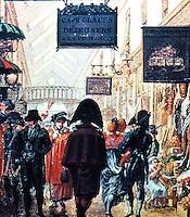 "Paris: ""Passage des Panoramas"", circa 1810. From an anonymous painting. Photo '85."