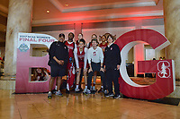 Dallas, TX - Friday March 31, 2017: Stanford players and coaches pose for a photo, Tempie Brown, Nadia Fingall, Kaylee Johnson, Amy Tucker, Tara Vanderveer prior to the NCAA National Semifinal Game between the women's basketball teams of Stanford and South Carolina at the American Airlines Center.