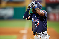 Jacksonville Jumbo Shrimp center fielder Anfernee Seymour (2) at bat during a game against the Pensacola Blue Wahoos on August 15, 2018 at Blue Wahoos Stadium in Pensacola, Florida.  Jacksonville defeated Pensacola 9-2.  (Mike Janes/Four Seam Images)
