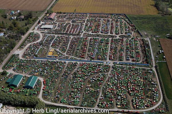 aerial photograph of Colfax Tractor Parts, used farm equipment, Colfax Iowa