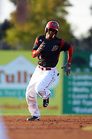 Batavia Muckdogs shortstop Marcos Rivera (8) running the bases after hitting a triple during a game against the Tri-City ValleyCats on July 15, 2017 at Dwyer Stadium in Batavia, New York.  Tri-City defeated Batavia 5-4.  (Mike Janes/Four Seam Images)