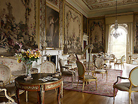 The Tapestry Drawing Room still has the original Beauvais tapestries in the setting for which they were designed