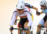 Southland's Cameron Karwowoski competes in the 40km madison at the BikeNZ Elite & U19 Track National Championships, Avantidrome, Home of Cycling, Cambridge, New Zealand, Sunday, March 16, 2014. Credit: Dianne Manson