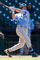 North Carolina Tar Heels outfielder Chaz Frank #2 follows through on his swing against the California Golden Bears in the NCAA baseball game on March 2nd, 2013 at Minute Maid Park in Houston, Texas. North Carolina defeated Cal 11-5. (Andrew Woolley/Four Seam Images).