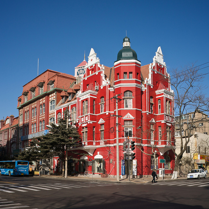 Landmann Commercial Building, Qingdao.  (Next door is the first Chinese building in the city to be built in the German style, in 1985!  Beyond that, a chemist's shop from 1905 is just visible.)