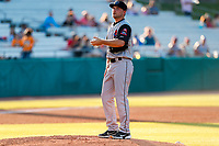 Rocket City Trash Pandas starting pitcher Reid Detmers (10) prepares to make a pitch against the Tennessee Smokies at Smokies Stadium on June 12, 2021, in Kodak, Tennessee. (Danny Parker/Four Seam Images)