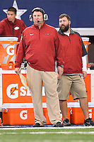 Arkansas Head Coach Bret Bielema looks on from the sidelineduring NCAA Football game, Saturday, September 27, 2014 in Arlington, Tex. Texas A&M defeated Arkansas 35-28 in overtime. (Mo Khursheed/TFV Media via AP Images)