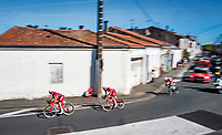 Guillaume Martin (FRA/Cofidis) speeded back to the peloton after a major crash that delayed him.<br /> <br /> Stage 10 from île d'Oléron (Le Château-d'Oléron) to Île de Ré (Saint-Martin-de-Ré)(169km)<br /> <br /> 107th Tour de France 2020 (2.UWT)<br /> (the 'postponed edition' held in september)<br /> <br /> ©kramon