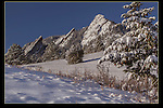 Flatirons rock formation at Chautauqua Park, Boulder Valley, Colorado.<br />