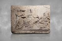 Roman relief sculpture of the Myth of Marsyas. Roman 2nd century AD, Hierapolis Theatre.. Hierapolis Archaeology Museum, Turkey