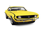 Yellow 1969 Chevrolet Camaro SS classic retro sports car muscle car Isolated with clipping path on white background Image © MaximImages, License at https://www.maximimages.com