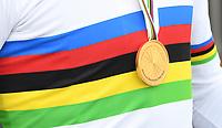 Picture by Simon Wilkinson/SWpix.com - 25/09/2020 - Cycling - UCI 2020 Road World Championships IMOLA - EMILIA-ROMAGNA ITALY - ITT Individual Time Trial Elite Men -<br /> UCI World Championships Rainbow Jersey and Gold Medal - SANTINI
