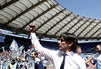 Calcio, Serie A: Roma, stadio Olimpico, 30 aprile 2017.<br /> Lazio's coach Simone Inzaghi celebrates after winning the Italian Serie A football match between AS Roma an Lazio at Rome's Olympic stadium, April 30 2017.<br /> UPDATE IMAGES PRESS/Isabella Bonotto