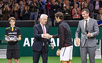 Rotterdam, The Netherlands, 18 Februari, 2018, ABNAMRO World Tennis Tournament, Ahoy, Singles final, Winner of the 45th ABNAMROWTT  Roger Federer (SUI) is congratulated by the CEO of the ABNAMRO Bank Kees van Dijkhuizen right tournament director Richard Krajicek<br /> Photo: www.tennisimages.com/henkkoster