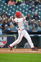 O'Neal Lochridge (7) of the Louisiana Ragin' Cajuns follows through on his swing against the Vanderbilt Commodores in game five of the 2018 Shriners Hospitals for Children College Classic at Minute Maid Park on March 3, 2018 in Houston, Texas.  The Ragin' Cajuns defeated the Commodores 3-0.  (Brian Westerholt/Four Seam Images)