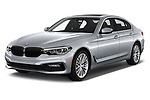 2018 BMW 5 Series 540i Sport Line 4 Door Sedan angular front stock photos of front three quarter view