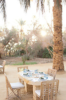 Breakfast table at a hotel at the Siwa Oasis in the Matruh Governorate, Egypt