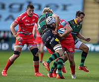 29th September 2020; Franklin Gardens, Northampton, East Midlands, England; Premiership Rugby Union, Northampton Saints versus Sale Sharks; Curtis Langdon of Sale Sharks is tackled by David Ribbans of Northampton Saints