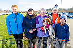 Mary O'Connor, Caroline Toal, Deirdre Moore with her dog Jazz, Jean Foley and Conor Hannafin at the Operation Transformation for the National Walk Day in the Wetlands on Saturday.