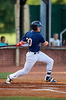 Elizabethton Twins left fielder Tyler Webb (30) follows through on a swing during a game against the Bristol Pirates on July 28, 2018 at Joe O'Brien Field in Elizabethton, Tennessee.  Elizabethton defeated Bristol 5-0.  (Mike Janes/Four Seam Images)