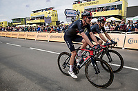 Luke Row (UK/Ineos Grenadiers) & Michal Kwiatkowski (POL/INEOS Grenadiers) finishing the first stage<br /> <br /> Stage 1 from Brest to Landerneau (198km)<br /> 108th Tour de France 2021 (2.UWT)<br /> <br /> ©kramon