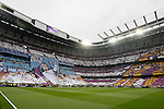 Real Madrid´s supporters holding a banner during the Champions League semi final soccer match between Real Madrid and Juventus at Santiago Bernabeu stadium in Madrid, Spain. May 13, 2015. (ALTERPHOTOS/Victor Blanco)