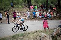 Quentin Jauregui (FRA/AG2R - La Mondiale) up the steepest part of the brutal Mas de la Costa: the final climb towards the finish<br /> <br /> Stage 7: Onda to Mas de la Costa (183km)<br /> La Vuelta 2019<br /> <br /> ©kramon