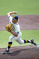 Michigan Wolverines pitcher Willie Weiss (20) delivers a pitch to the plate against the Maryland Terrapins on May 23, 2021 in NCAA baseball action at Ray Fisher Stadium in Ann Arbor, Michigan. Maryland beat the Wolverines 7-3. (Andrew Woolley/Four Seam Images)