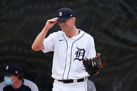 Detroit Tigers pitcher Jack Dellinger (91) warms up in the bullpen during a Minor League Spring Training game against the Philadelphia Phillies on April 17, 2021 at TigerTown in Lakeland, Florida.  (Mike Janes/Four Seam Images)