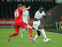 Pictured: A frustrated Eder of Swansea (R) is challenged by Keith Lowe of York City Tuesday 25 August 2015<br /> Re: Capital One Cup, Round Two, Swansea City v York City at the Liberty Stadium, Swansea, UK.
