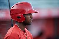 Trent Deveaux (17), of the AZL Angels, before an Arizona League game against the AZL Padres 1 on August 5, 2019 at Tempe Diablo Stadium in Tempe, Arizona. AZL Padres 1 defeated the AZL Angels 5-0. (Zachary Lucy/Four Seam Images)