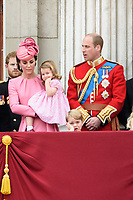 Catherine Duchess of Cambridge, Princess Charlotte, Prince George and Prince William<br /> on the balcony of Buckingham Palace during Trooping the Colour on The Mall, London. <br /> <br /> <br /> ©Ash Knotek  D3283  17/06/2017
