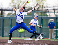 Madison Heinle (16) of Rogers pitches against Bentonville at Rogers High School, Rogers, Arkansas, on Tuesday, April 6, 2021 / Special to NWA Democrat Gazette