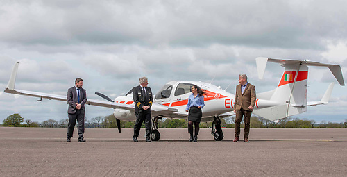 Flying high - (L-R) Paul Daly, Weston Aviation, Sarah Kandrot, Head of Aerial Surveys with Green Rebel Group, pilot Gerry Humphreys, AFTA and Niall MacCarthy, Managing Director at Cork Airport