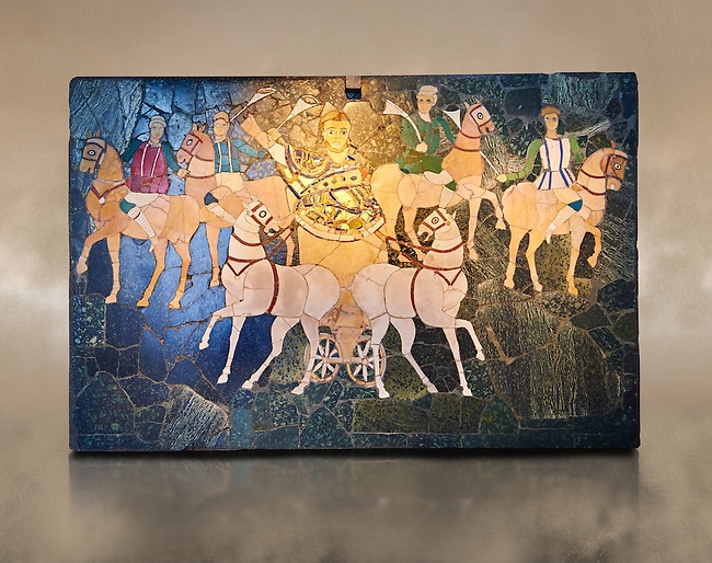 4th Century AD Roman Opus Sectile Mosaic of a chariot & 4 horses from the basilica de Giunio Basso.  Museo Nazionale Romano ( National Roman Museum), Rome, Italy. Against an art background.