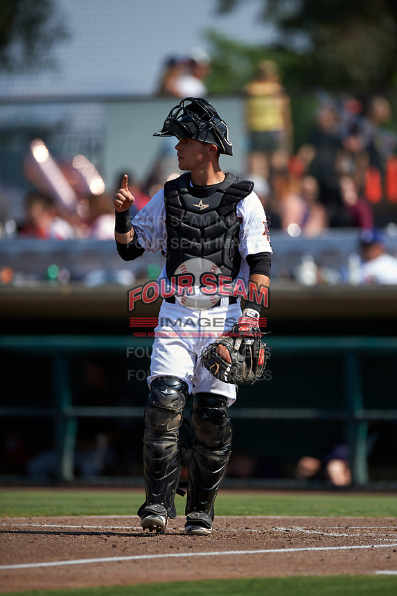 Inland Empire 66ers catcher Jack Kruger (27) during a California League game against the Lancaster JetHawks at San Manuel Stadium on May 20, 2018 in San Bernardino, California. Inland Empire defeated Lancaster 12-2. (Zachary Lucy/Four Seam Images)