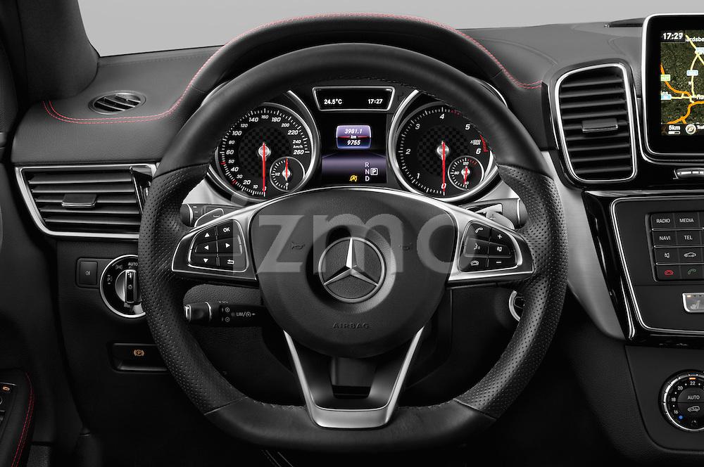 Car pictures of steering wheel view of a 2018 Mercedes Benz GLE-Class 350 5 Door SUV Steering Wheel